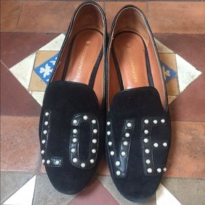 Rebecca Minkoff Suede black loafers LOVE pearl