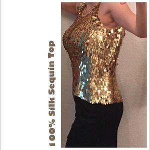 Tops - ❌Host Pick🎉 100% Silk Golden Sequin Top