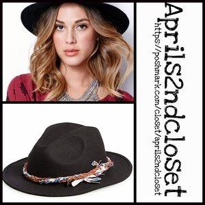 Element Accessories - ❗1-HOUR SALE❗BLACK BOHO PANAMA HAT Fedora Crown