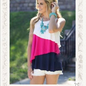 Layered Colorblock bow back top tunic
