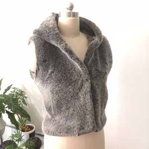 Jackets & Blazers - Cute cropped FAUX FUR hooded Grey VEST