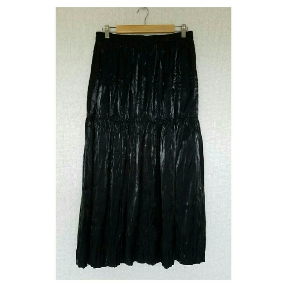 Banjo - Banjo Plus Size Tiered Black Crinkle Maxi Skirt from ...