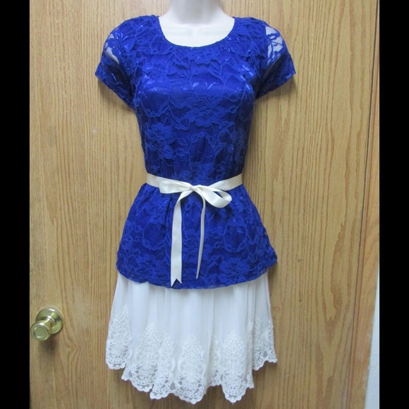 Cute Royal Blue Lace Blouse W/Lining & Ribbon Belt M from Teresa's ...