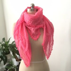 "Accessories - PINK POM POM COTTON GAUZE SCARF 26"" SQUARE"