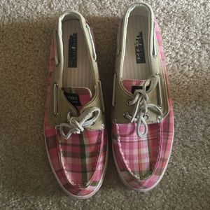 Sperry - Pink and green checkered boat shoes