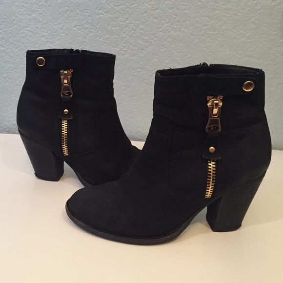 51% off ALDO Shoes - Aldo suede gold zipper ankle black boots ...
