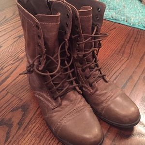 Steve Madden Troopa Leather Lace-Up Mid-Calf Boots