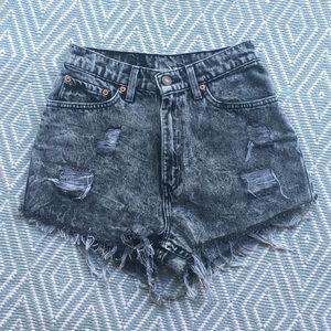 Levi's High-Waisted Grey Distressed Denim Shorts