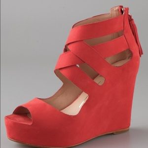 Red criss cross wedges