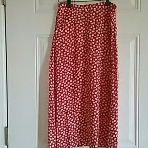 United Colors Of Benetton Dresses & Skirts - Long red skirt with white flower print, euro sz 38