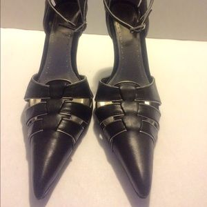Bakers Nora Black Leather Ankle Straps 4inch Heels