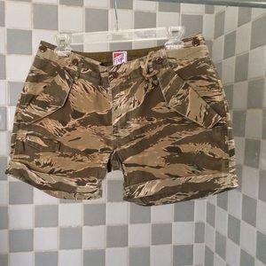 PRPS Pants - PRPS Camo Shorts w/Paint Splatter, Embroidery