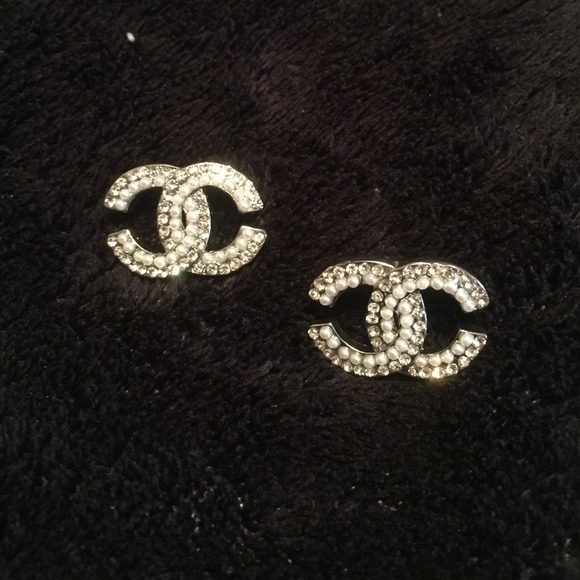 Jewelry Chanel Symbol Silver Gem And Pearl Earrings Poshmark