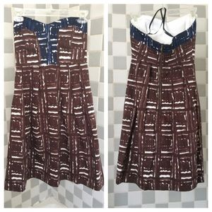 """Milly Dresses & Skirts - Milly Strapless Dress in Brown/Navy """"Coconuts"""" NWT"""