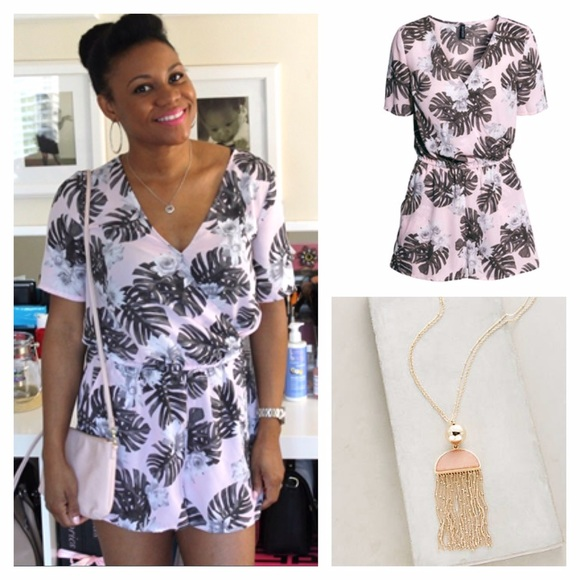 72e93f309539 H M Dresses   Skirts - H M tropical print shirt sleeve romper ...