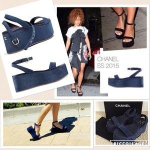 Chanel suede blue sandals‼️