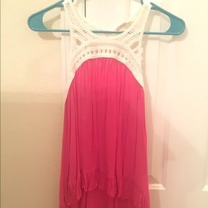 Altard state pink tank top with crochet
