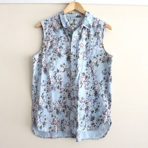 Floral Madewell sleeveless denim shirt