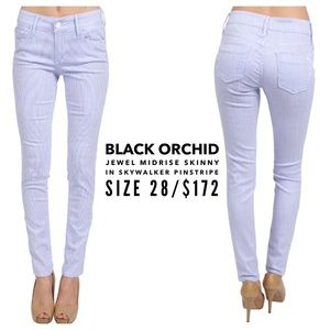 Black Orchid Denim - Black Orchid Midrise Skinny Skywalker Pinstripe