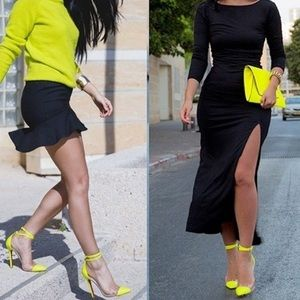 Shoes - Lime pointy toe clear lucite Strappy heels pump