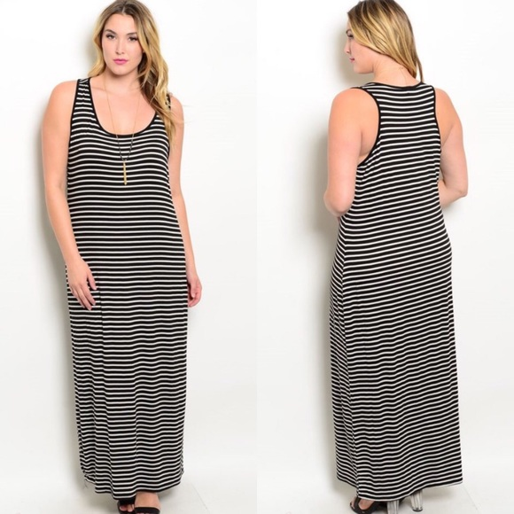 Plus Size Black & White Striped Tank Maxi Dress Boutique