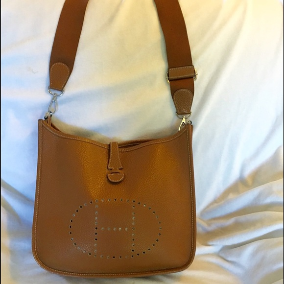 38820b77c6e0 ... free shipping hermes like evelyne style leather bag in cognac c47b9  89cc6