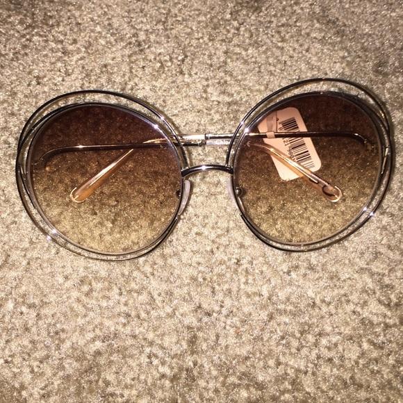 7a3486b5ba Chloe Carlina 62mm round wire peach sunglasses
