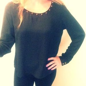 NWT black blouse with gold stud detail