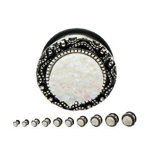 Jewelry - Single Flare Steel Plug with White Druzy Inlay
