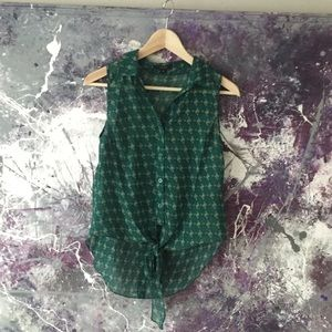Green Patterned button Up tank Top w/ Crop tie up