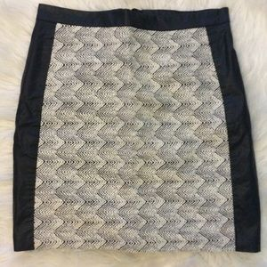 Black and White Leather Paneled Skirt