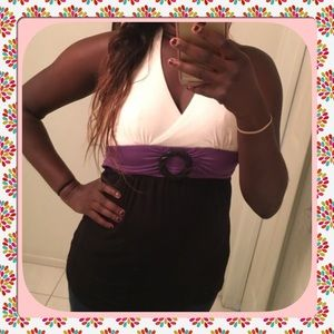Style & Co Tops - White, Purple, and Black Halter Top
