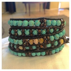 Turquoise and Czech Glass Leather Wrap Bracelet