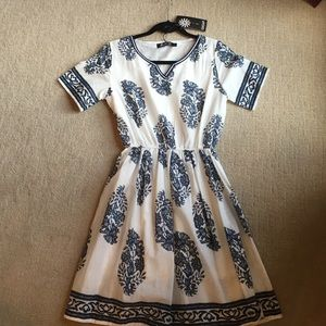 Navy pattern short sleeve dress