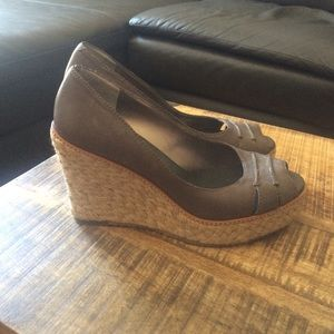 Banana Republic Gray Espadrilles Wedge Shoes