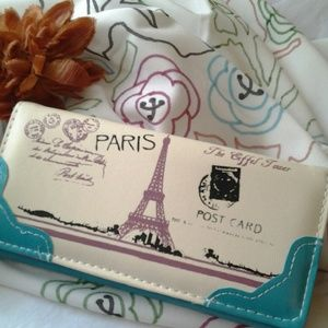 Handbags - NWOT. Eiffel Tower Purse/Wallet (Blue)