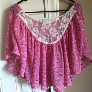 Pink flowy lace back blouse