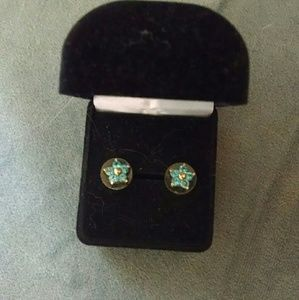 Betsey Johnson stud earrings flowers blue and gold