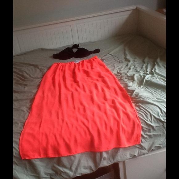 60 divided dresses skirts bright pink sheer maxi