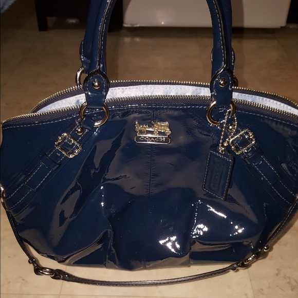 dd75dff552 Navy Patent Leather Coach Purse