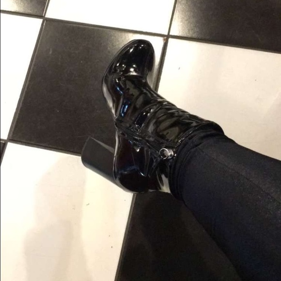 64e9cbfe07171 H&M Shoes | Patent Leather Chunky Ankle Boots | Poshmark