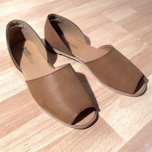 ShuShop Shoes - ShuShop Tan D'orsay Flats Peep Toe
