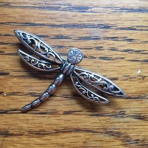Vintage Jewelry - Vintage 1950's Silver Metal Dragonfly Brooch Pin