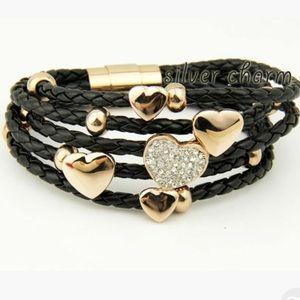 Leather Wrap Rhinestone Charm Bracelet