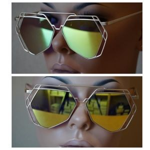 Geometric Hexagon Mirrored Sunglasses