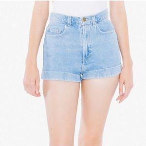 American Apparel Pants - American Apparel Blue Denim High Waist Jean Shorts