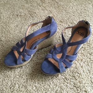 06ca415cbb63 Sofft Shoes - Sofft 8M Suede Periwinkle Wedge back zip sandal