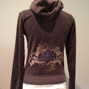 6aa4a3e383 Juicy Couture Tops - Juicy Couture Logo Screen Print Velour Hoodie