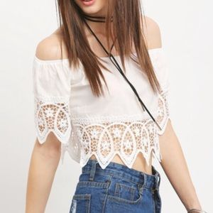 Off the shoulders lace trim crop top. Price firm.