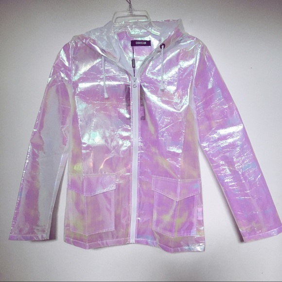 7817308327a27 Missguided Holographic Rain Jacket